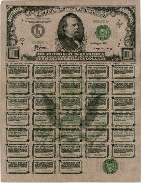 100-M-US-Treasury-Note-1934-Series-E-Chicago-Illinois-Serial-No-G00065851A-with-interest-coupons-