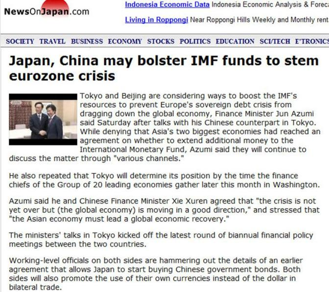 Japan & China May Help IMF, Junk Dollar for Bilateral Trade