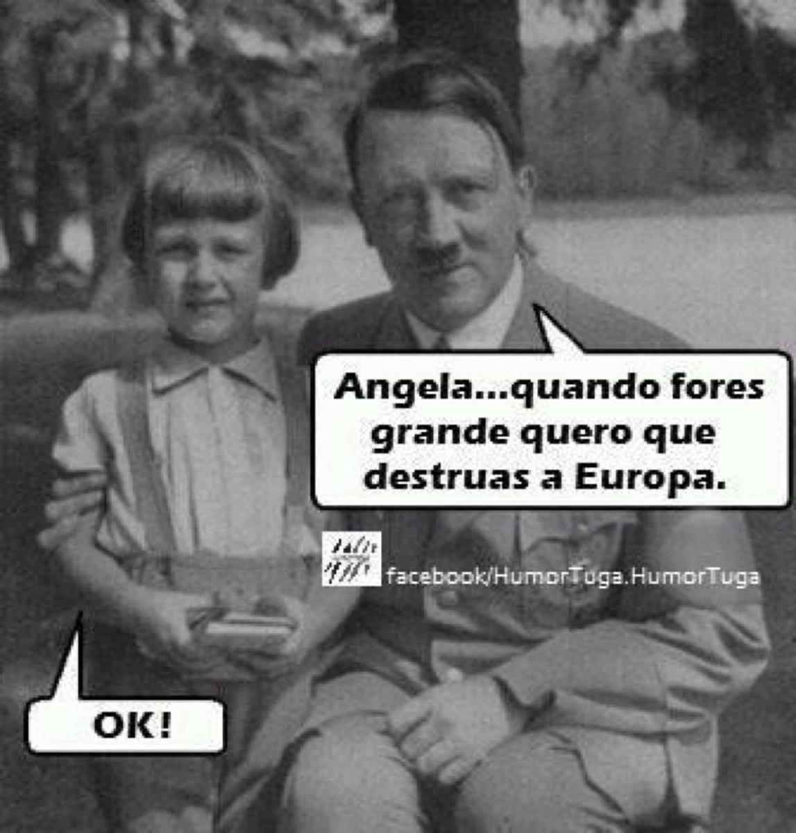 Young Angela Merkel with Adolf Hitler