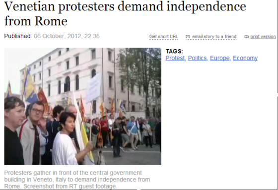 Venetian protesters demand independence from Rome