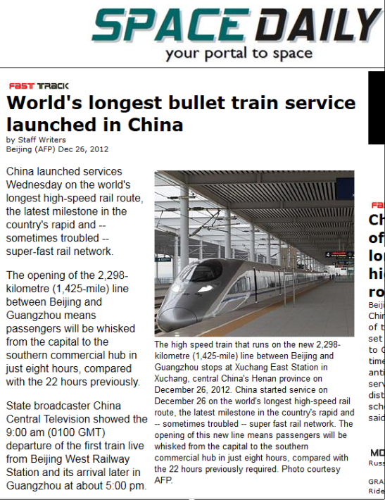 china launches longest bullet train track