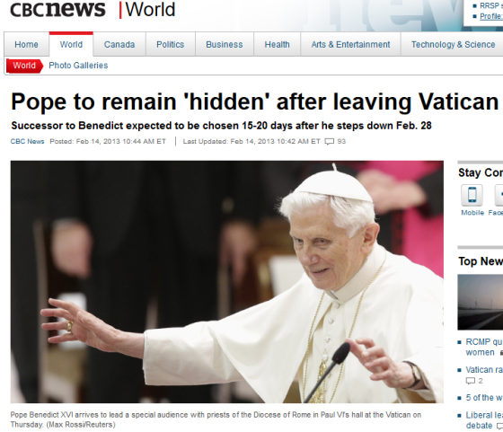 """Pope Benedict XVI told priests today he will """"remain hidden to the world""""  after he leaves his post as leader of the Roman Catholic Church at the end  of this ..."""