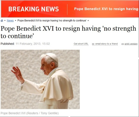 pope resigns