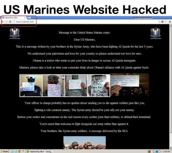 marines site hacked