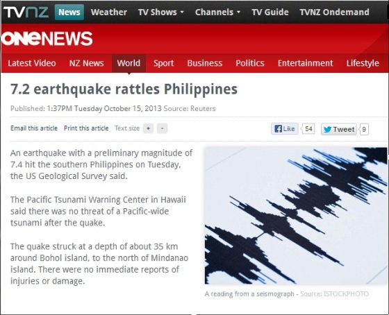7.2 quake hits phil