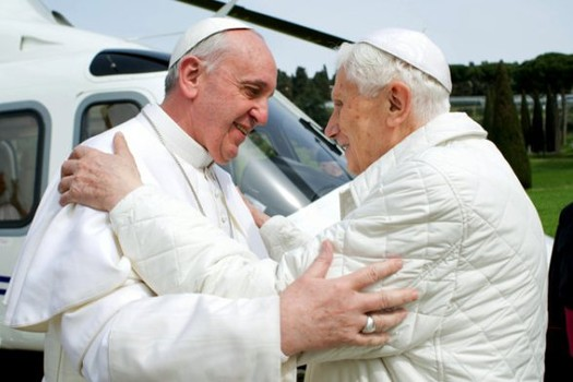 Catholic Pope Francis charged, trial set, for trafficking orphans Francis-and-benedict