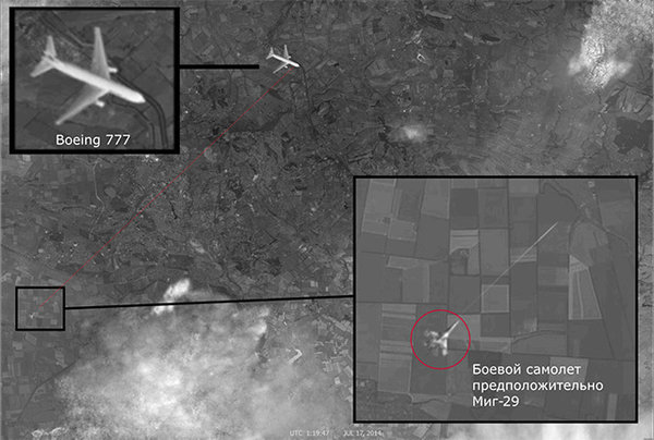 Pravda Releases Sat Image of Ukrainian Plane Shooting Flight MH-17