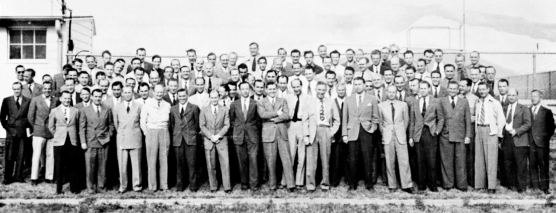 Group photo for Nazi scientists and engineers escaping Germany through the Vatican Ratline consisting of Catholic monastery, clandestine airstrips and shipyards, fake passports for entering the US via South America.