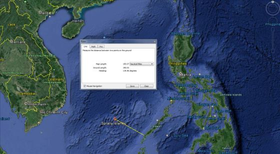 distance between spratly's and mainland philippines