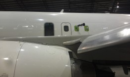 Sprayer and Exhaust Installed – View from in front of the left wing.