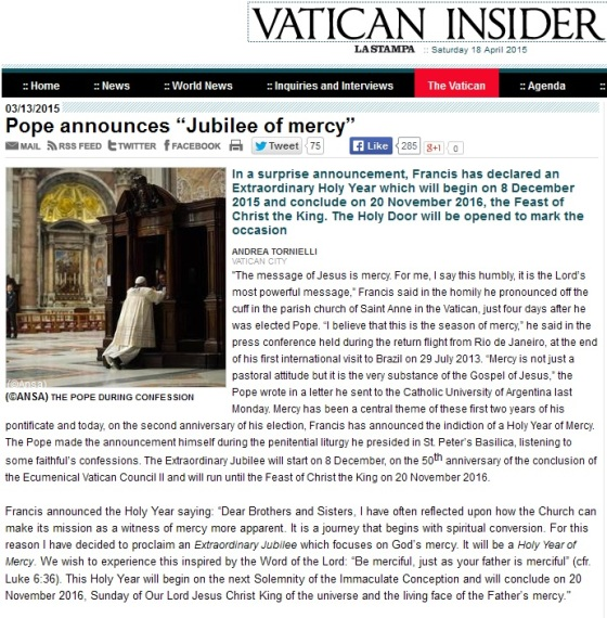 vatican insider jubilee of mercy