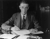Vannevar Bush (/væˈniːvɑr/ van-NEE-var; March 11, 1890 – June 28, 1974) was an American engineer, inventor and science administrator, who during World War II headed the U.S. Office of Scientific Research and Development (OSRD), through which almost all wartime military R&D was carried out, including initiation and early administration of the Manhattan Project