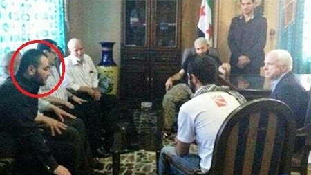 Shown here is Sen. John McCain conducting a command conference for Daesh leader Ibrahim Abu-Bakr al-Baghdadi and his terrorists.
