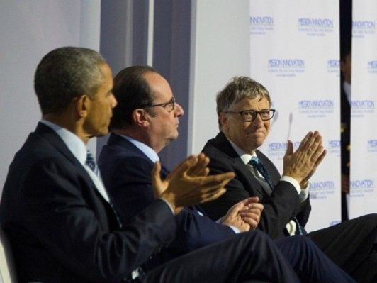 obama with bill gates at paris climate summit 2