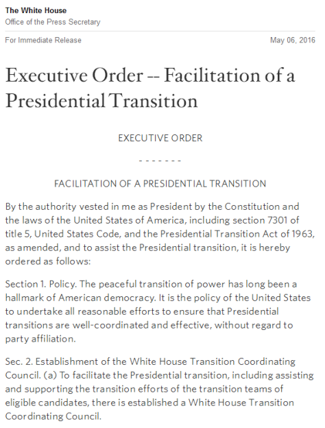 EO Facilitation of Presidential Transition
