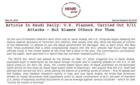 saudi accuse us of 911 attack
