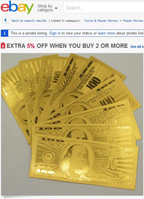 fake gold dollar bill