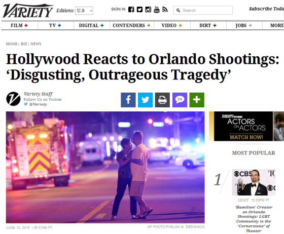hollywood reacts to orlando shooting