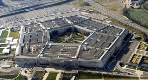 The Pentagon, headquarters of the U.S. Defense Department, as viewed with the Potomac River and Washington, D.C., in the background. (Defense Department photo)
