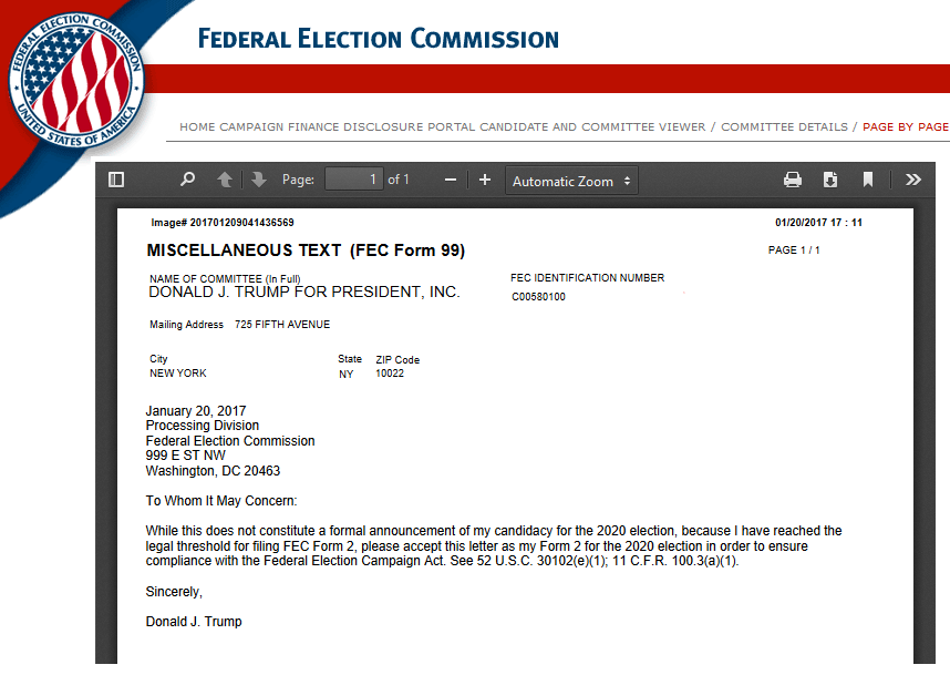 Trump Outmaneuvers Soros with Early FEC Form 2 Filing | Covert ...