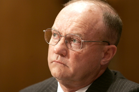 Lawrence Wilkerson, former Chief of Staff to Secretary of State Colin Powell, testifies on Capitol Hill, Monday, June 26, 2006 before the Senate Democratic Policy Committee hearing on pre-war intelligence relating to Iraq. (AP Photo/Lawrence Jackson)