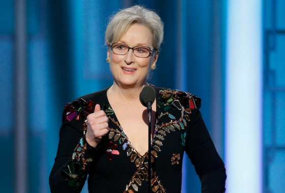 74th ANNUAL GOLDEN GLOBE AWARDS -- Pictured: Meryl Streep, recipient of the Cecil B. Demille Award at the 74th Annual Golden Globe Awards held at the Beverly Hilton Hotel on January 8, 2017 -- (Photo by: Paul Drinkwater/NBC)