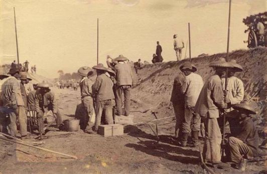 Chinese railroad workers in America circa 1865