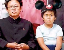 Father and son: A rare image of Kim Jong Il and his third son Kim Jong Un during his youth