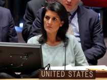 The new U.S. Ambassador to the U.N. Nikki Haley, listens to proceedings during a Security Council meeting of the United Nations, Thursday, Feb. 2, 2017. U.S. Deputy Permanent Representative Michele Sison is at center.AP Photo/Richard Drew)