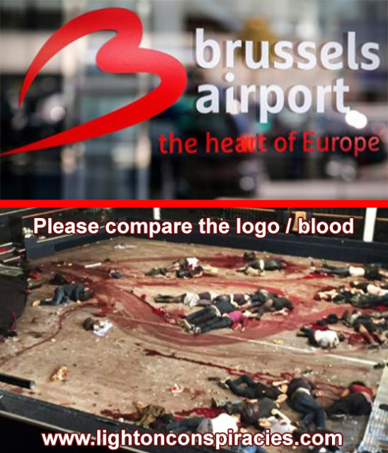 "Ole Dammegard discusses the ""satanic blood heart"" smeared on the floor of the Bataclan theater – which looks suspiciously like the Brussels Airport logo – in ANOTHER French False Flag"