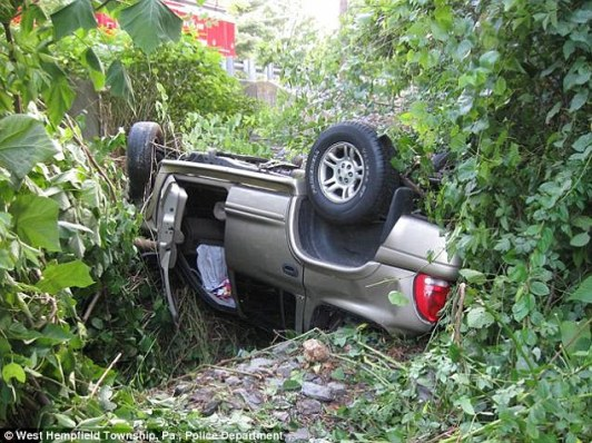 Hidden: The SUV was 20 feet down a gully and that was covered by vegetation. It was hidden from the view of most passers by.