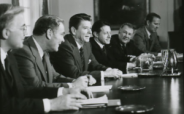 President Ronald Reagan leading a meeting on terrorism on Jan. 26, 1981, with National Security Advisor Richard Allen, Secretary of State Alexander Haig, Defense Secretary Caspar Weinberger and White House counselor Edwin Meese. (photo credit: Reagan library)