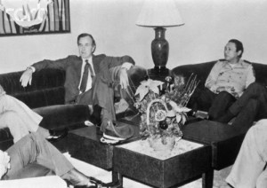 Vice President George H.W. Bush meeting with Panamanian Gen. Manuel Noriega in the mid-1980s when Noriega was considered a key ally in helping the Nicaraguan Contras wage a brutal guerrilla war to overthrow the leftist Sandinista government.