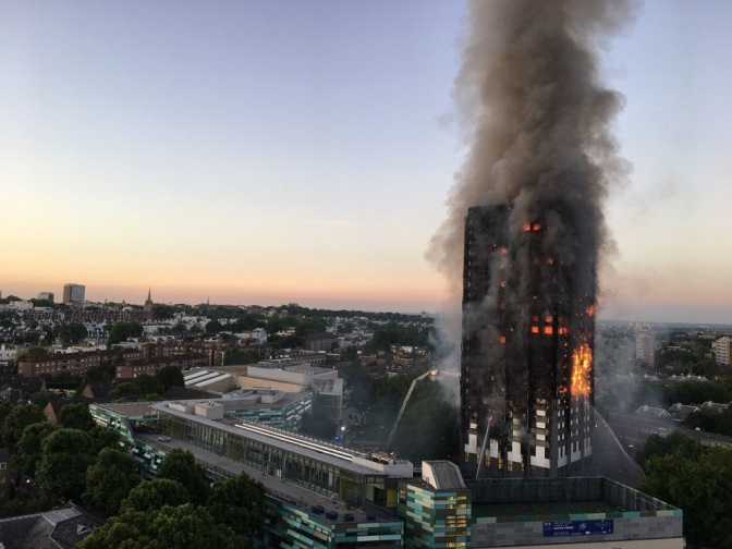 Look: Grenfell Tower Still Standing After Burning for A Day