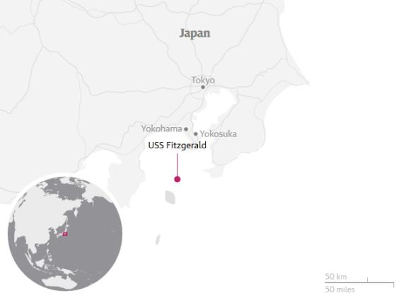 USS Fitzgerald location map.
