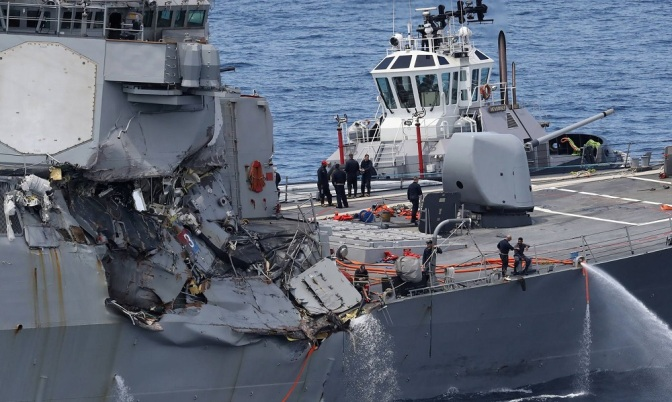 US Destroyer Destroyed by Japanese Container Ship Manned by Filipino Crew
