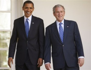 Barack Obama and George W. Bush at the White House.