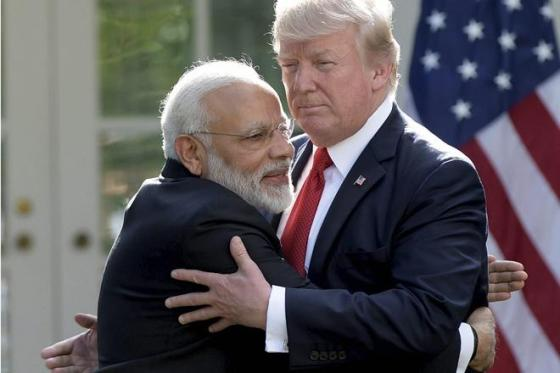 President Donald Trump and Indian Prime Minister Narendra Modi hug while making statements in the Rose Garden of the White House in Washington, Monday, June 26, 2017. (AP/PTI)