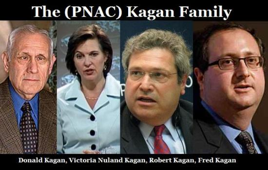 As an example – PNAC's Khazarian Kagan family: Donald (dad) Victoria, Robert and Fred Kagan