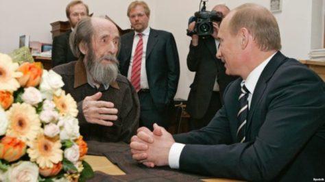 Alexander Solzhenitsyn with Vladimir Putin