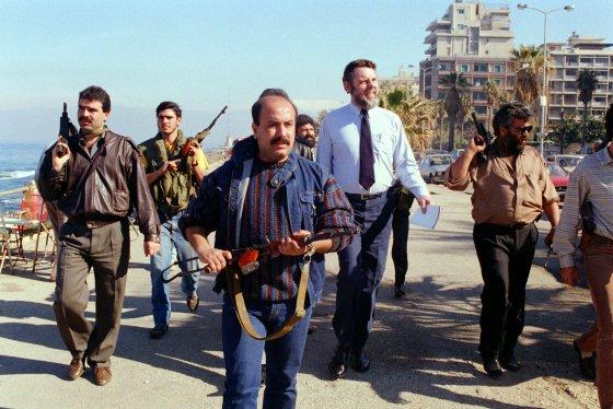 Hostage negotiator Terry Waite in Lebanon, 1980s. © AFP 2017 KAMEL LAMAA