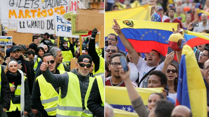 Protests in Venezuela good, protests in France bad!