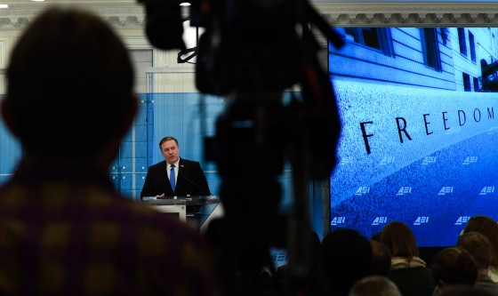 Then-CIA Director Mike Pompeo speaks at the American Enterprise Institute in Washington, Jan. 23, 2018. Susan Walsh | AP